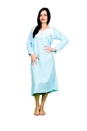 koszula nocna tradycyjna dł. ręk. GŁADKA TURKUS