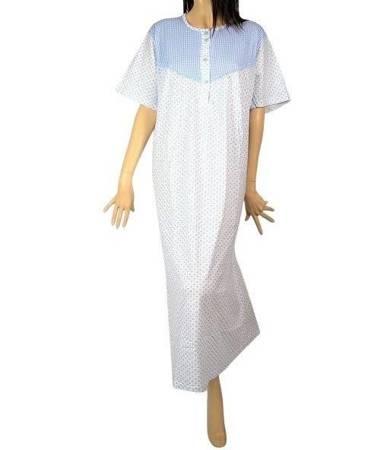 koszula nocna tradycyjna kr. ręk. KRATECZKA BŁĘKIT
