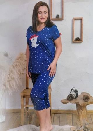 piżama damska KOTEK granat/kropki 1XL/46