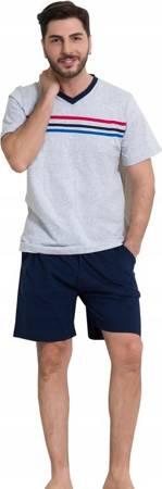 piżama męska 3 PASKI szary/granat S-XXL