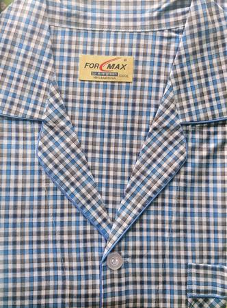 piżama męska rozpinana KRATKA TURKUS/CZARNY M-5XL